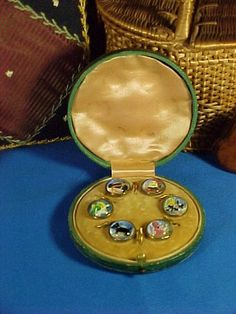 Antique Edwardian Child's Buttons in Box, Glass Intaglio, Nursery Rhyme, Dog, Mother Goose, Humpty Dumpty, Cat & Fiddle, Bo Peep