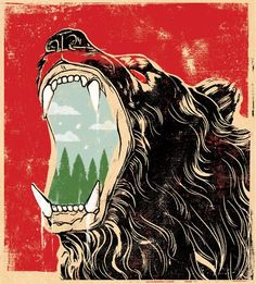 Marvelous Bear Art by Artist Edel Rodriguez for Outside Magazine About Recent Bear Attacks in Yellowstone National Park Bear Illustration, Graphic Design Illustration, Illustration Editorial, Graphic Art, Bear Attack, Outside Magazine, Bear Art, Cool Posters, Collage Art