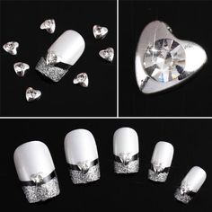 350buy 10 pcs Silver 3D Rhinestones Nail Art Heart Glitters Slices DIY Decoration * Continue to the product at the image link. Note:It is Affiliate Link to Amazon.