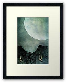 Full Moon Village Framed Print by Paul Stickland for StrangeStore on Redbubble Online Gifts, Full Moon, Mona Lisa, Framed Prints, Dark, Drawings, Unique, Artwork, Harvest Moon