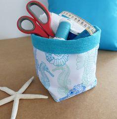 Craft storage Fabric storage basket Aqua Seahorses