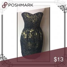 "Strapless Dress euc // back zipper // brocade // Lenght 27"" Forever 21 Dresses Mini"