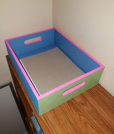 DIY - this colorfully painted wooden tray will hold lots of coloring pages! Mini Library, Little Library, Small Hallways, Printer Paper, Wax Paper, Book Nooks, Bookshelves, Coloring Pages, Tray