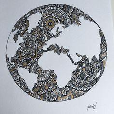 World map - World Map Print - Mandala Wall Art - Wall Art - Home Decor - Wall Map Wall Art - Colourful World Map - World Map Poster Mandala Doodle, Mandala Art Lesson, Mandala Drawing, Doodle Art, Music Drawings, Cool Art Drawings, Pencil Art Drawings, Doodle Drawings, Dibujos Zentangle Art