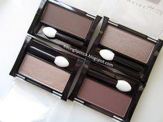 Maybelline Expert Wear Single Eyeshadows: Silken Taupe, Nutmeg, Tastefully Taupe, and Made For Mocha