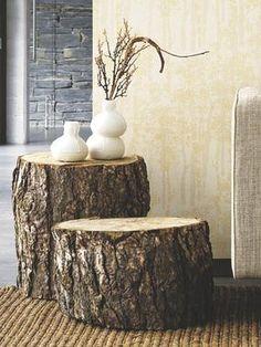 Mesas troncos de madera