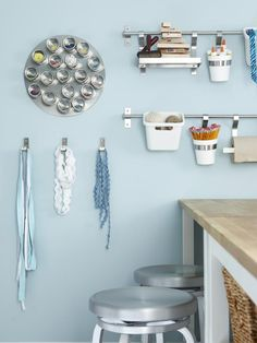 12 Creative Craft Storage Room Ideas: Magnetic Boards >> http://www.diynetwork.com/decorating/12-creative-craft-room-storage-ideas/pictures/index.html?soc=pinterest