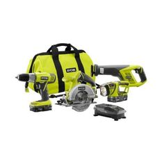 Ryobi ONE+ 18-Volt Lithium-Ion Cordless Super Combo Kit (4-Piece)-P883 - The Home Depot  Special of $149