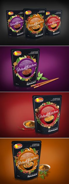 SunRice Global Kitchen Creative Agency: Boxer & Co. Client: SunRice Location: Sydney/Australia Project Type: Commercial Work These innovative and incredible tasting gourmet rice mixes needed a fresh approach to packaging design to entice new shoppers into the category and re-invigorate the current supermarket microwave rice offering.