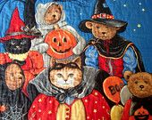 Halloween Quilted Wall or Door Hanging or Lap Quilt Cats Bears Pumpkins Unique Handmade