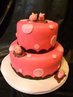 Pink pig baby shower cake By Redmama on CakeCentral.com