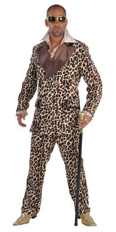 Animal Print Outfits | Home > Mens Fancy Dress > Pimp Fancy Dress > Deluxe Leopard Print Pimp ...