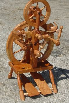 """Carson Cooper """"Krista"""" 3.2 spinning wheel. Ratios from 8:1 through 60:1 Cherry wood with Maple Burl accents"""