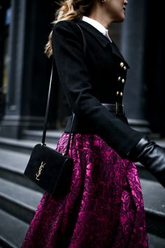 fuchsia-pink-magenta-jacquard-midi-skirt-dress-classic-tailored-double-breasted-black-jacket-brass-buttons-white-collar-nyc-blogger-classic-style5