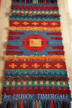Crochet Ethno Carpet Chichen Itza Knitting Rug by KingdomKnitting Weaving Art, Tapestry Weaving, Loom Weaving, Weaving Projects, Knit Rug, Wool Rug, Small Tapestry, Manta Crochet, Tapestry Crochet