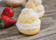 These strawberry cream puffs are simple to make and so delicious! Tender pastry shells are filled with sweet strawberry whip cream for an elegant dessert. When I think about elegant desserts, the first thing that comes to mind is cream puffs. There's something so pretty and dainty about them, and they are one of my favorite treats! I've been making them