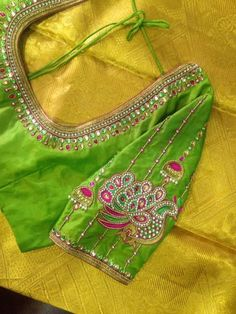 For customising your outfits – whatsapp 9133502232 - Ente And Gans Peacock Blouse Designs, Peacock Embroidery Designs, Best Blouse Designs, Simple Blouse Designs, Bridal Blouse Designs, Blouse Neck Designs, Peacock Design, Mirror Work Blouse Design, Mirror Work Saree Blouse