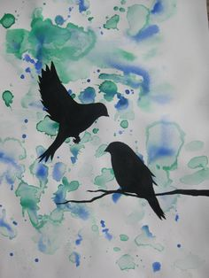 tree of life art in watercolor  paintings green yellow blue birds bird  flying two 2  black sky zen blossoms wall paintings japan