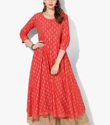 78bcdcde7 Women s red cotton block prints long straight kurti