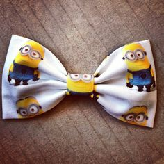 Despicable Me Minion print handmade fabric bow tie or hair bow ($6) ❤ liked on Polyvore featuring accessories, hair accessories, bows, hair, hats, hair bows, barrette hair clips, hair band accessories, bow headbands and alligator hair clips