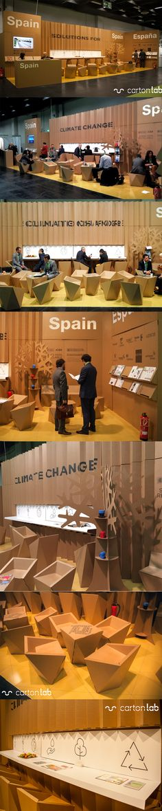 Cardboard booth Spanish pavilion at Carbon Expo Climate Change trade show. Designed by Lourdes Izquierdo (ICEX) and produced in cardboard by Cartonlab. #cardboardbooth #cardboardstand #climatechange