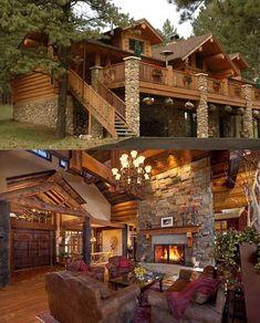 Echa un vistazo a 40 increíbles cabañas de troncos, Log Cabin Living, Log Cabin Homes, Log Cabins, Staircase Design Modern, Casas Country, Prefab Cabins, Style At Home, Cabins And Cottages, My Dream Home