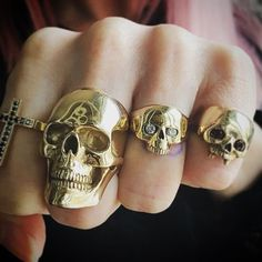 We can make most of our rings and pendants in 9 and 18ct Gold. Seen here is the Medium Anatomical Skull and Smallest Evil Skull with diamond eyes in 9ct yellow gold. For all gold quotes please email us at la@thegreatfroglondon.com  @252shelley252 #thegreatfrogldn #thegreatfrogla #thegreatfrog