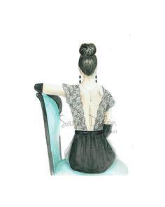 Watercolor fashion illustration print-