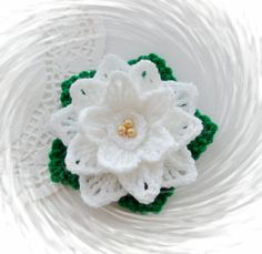 CROCHET BROOCH APPLIQUE DECORATION GLITTER WHITE CHRISTMAS FLOWER POINSETTIA in Crafts, Crocheting & Knitting, Other Crocheting & Knitting   eBay