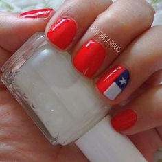 Nail Art #26: Chile's Flag