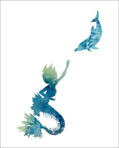 Mermaid and Dolphin  Watercolor Painting Art by ImageDeSignStudio