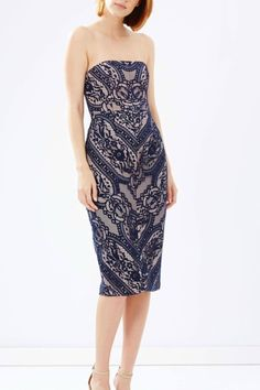 This strapless midi dress by Stylestalker features gorgeous lace detailing throughout, hidden back zip and bodycon fit. Vivid Strapless Dress by Stylestalker . Strapless Midi Dress, Bodycon Dress, Date Night Dresses, Lace Detail, Dress Outfits, Mexico, Zip, Formal Dresses, Clothing