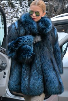 BLUE ROYAL SAGA SILVER FOX FUR COAT LIKE JACKET SABLE MINK CHINCHILLA LYNX #LAFURIA #BasicJacket