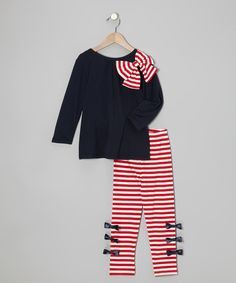 Take a look at this Navy Bow Top & Red Stripe Leggings - Toddler & Girls on zulily today!