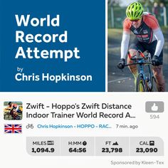 Chris Hopkinson set to Break Zwift Indoor Trainer Distance World Record. After 65 hours Chris is already past halfway; 1,000 miles into the World Record attempt. Only another 953 miles to go Chris, keep peddling, we're all routing for you!   Read more...  https://www.kleen-tex.co.uk/news/2018-chris-hopkinson-progress/ #kleentex #makemoreofyourfloor #chrishopkinson