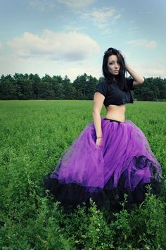 Petticoat tutu skirt  long Formal Ultra huge black and purple extra poofy Adult gothic --You Choose Size -- Sisters of the Moon- wedding. $150.00, via Etsy.