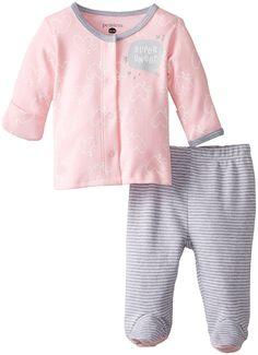 Petit Lem Baby-Girls Newborn Bow Heart Long Sleeve Top and Bottom, A Bow Heart, 3 Months