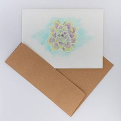 Carte de souhaits Succulente aquarelle fait main papier Craft, Folded Cards, Watercolor Painting, Handmade, Paper, Creative Crafts, Basteln, Hand Made, Crafting