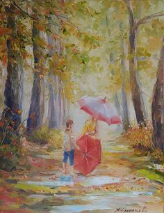 FINEARTSEEN - View Warm autumn original art by Alexander Koltakov. A beautiful original impressionist style landscape portrait painting to brighten up your home or interior decor. Freshen up your walls for Spring and view the beautiful authentic collection of artwork available on FineArtSeen - The curated online destination to discover and buy original art from the world's most talented artists. Enjoy Free Delivery with every order. >