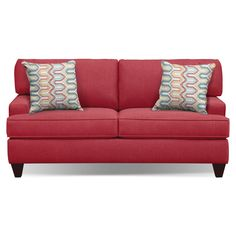 "Living Room Furniture - Conner Red 75"" Memory Foam Sleeper Sofa"