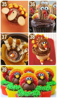Cute Turkey Cupcakes for Thanksgiving!!