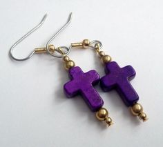 Purple and Gold Magnesite Cross Earrings on Etsy, $8.00