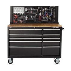 Husky 52 in. 10-Drawer Mobile Workbench with Solid Wood Top, Black-HOTC5210B1AD - The Home Depot