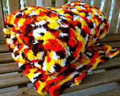 Vintage Crocheted Fall/Autumn Color Afghan Throw by TimelessTreasuresbyM on Etsy