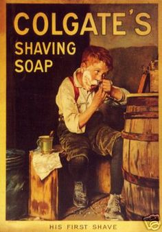 Shop Vintage Colgate Shaving Soap Boy Shaving Poster created by vintagegiftmall. Straight Razor Shaving, Shaving Razor, Shaving Soap, Don Draper, Shaving & Grooming, Men's Grooming, Vintage Advertisements, Vintage Ads, Retro Advertising