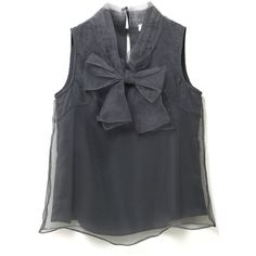 Chicwish Bowknot Sleeveless Organza Top in Smoke (€34) ❤ liked on Polyvore featuring tops, shirts, black, sleeve less shirts, organza shirt, collared shirt, collar top and sheer top