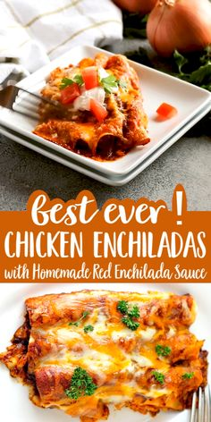 Every layer of these delicious Chicken Enchiladas with Homemade Red Enchilada Sauce is packed with flavor! Every layer of these delicious Chicken Enchiladas with Homemade Red Enchilada Sauce is packed with flavor! Casserole Enchilada, Sauce Enchilada, Enchilada Recipes, Chicken Casserole, El Pato Enchilada Recipe, Chicken Enchilada Sauce Recipe, Authentic Chicken Enchilada Recipe, Casserole Recipes, Healthy Recipes