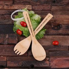 Personalized Engraved Bamboo Salad Utensils