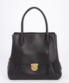 Salvatore Ferragamo black leather 'Fiamma' tailored tote