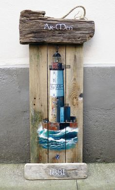 altes holz Armen Leuchtturm-Grobritannien-Finistre-Holz-Float-Acryl-Dekoration Source by lpflger Pallet Painting, Tole Painting, Painting On Wood, Lighthouse Decor, Lighthouse Painting, Arte Pallet, Pallet Art, Pintura Tole, Sea Crafts
